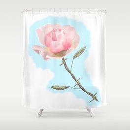 Old but beautiful...barbed wire rose Shower Curtain