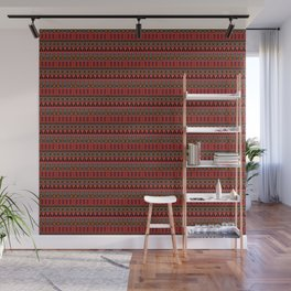 Aztec Tribal Motif Pattern in Red Mustard Salmon and Charcoal Wall Mural