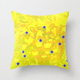 Flowers and stars Throw Pillow