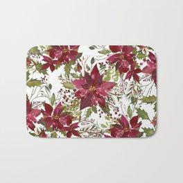 Poinsettia Flowers Bath Mat