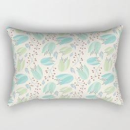 Ivory mint teal modern floral berries illustration Rectangular Pillow