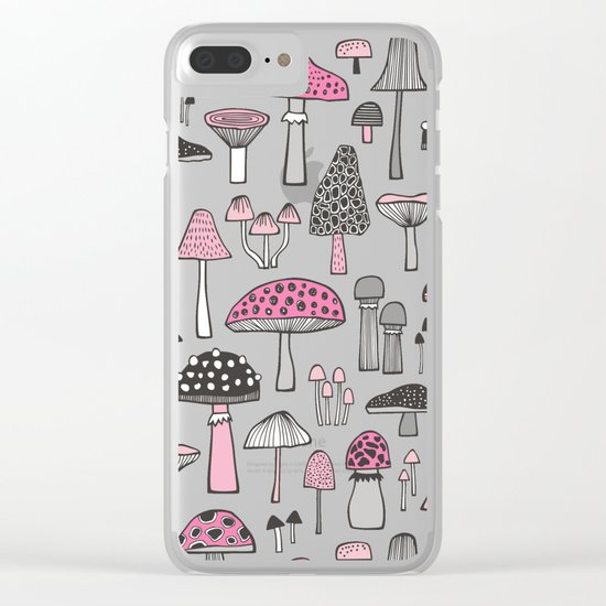 Pink Mushrooms Clear iPhone Case