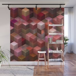 Artistic Cubes 09 pink red Wall Mural