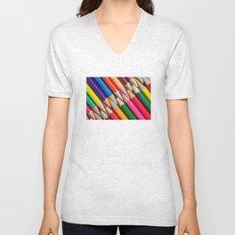 sharpen color pencils crayons background object texture pattern Unisex V-Neck