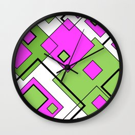 Pink And Green Diagonals Wall Clock