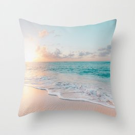 Beautiful tropical turquoise sandy beach photo Throw Pillow