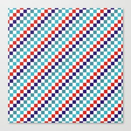 Gridded Red Tale Blue Pattern Canvas Print