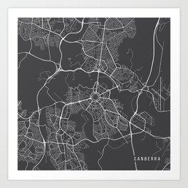 Canberra Map, Australia - Gray Map Art Print