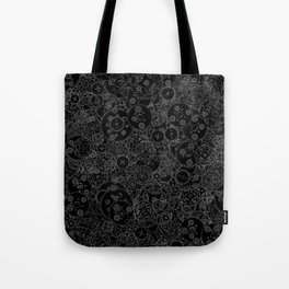 Clockwork B&W inverted / Cogs and clockwork parts lineart pattern Tote Bag