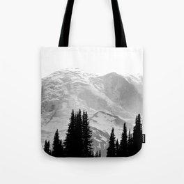 Mount Rainier Black and White Tote Bag