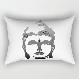 Buddha Head grey black white background Rectangular Pillow