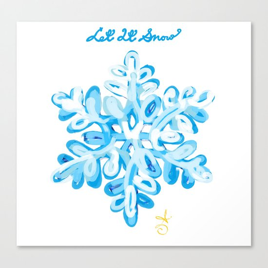 Let It Snow Snowflake Painting Canvas Print
