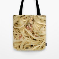 pasta Tote Bags featuring Carbonara Pasta by Anand Brai