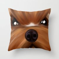 yorkie Throw Pillows featuring Yorkie face by Mario Laliberte