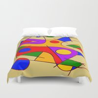 kandinsky Duvet Covers featuring Abstract #206 by Ron Trickett