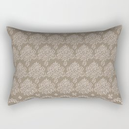 Coffee Color Damask Chenille with Lacy Edge Rectangular Pillow