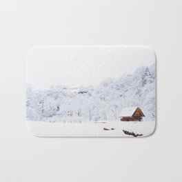 Cabin in the Snow (Color) Bath Mat