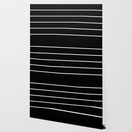 Black White Pinstripes Minimalist Wallpaper