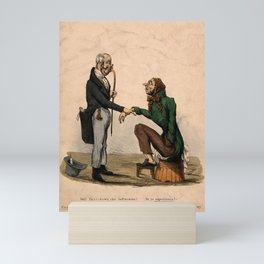A doctor examining a patient and enquiring about his health, leading to a mis-apprehension. Coloured Mini Art Print