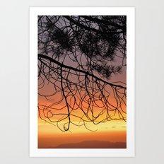Purple Sunset At The Mountains III Art Print