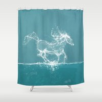 horse Shower Curtains featuring The Water Horse by Paula Belle Flores