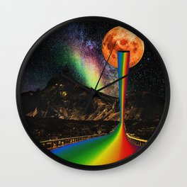 Moon Pride - Pride Month Surreal Rainbow - Digital Collage Artwork Wall Clock