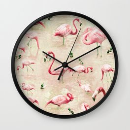 Flamingos Vintage Pink  Wall Clock