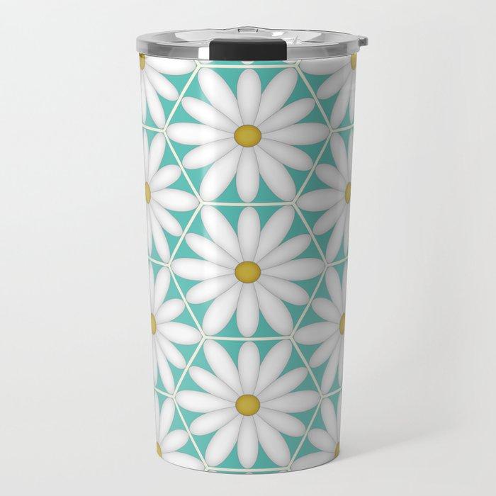 Daisy Hex - Turquoise Travel Mug