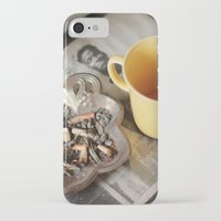 cigarettes iPhone & iPod Cases featuring Coffee & cigarettes by Clara Blum