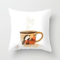 Chickadee Teacup Throw Pillow