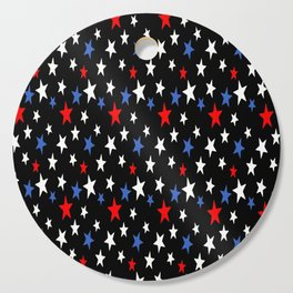 Bold Patriotic Stars In Red White and Blue on Black Cutting Board