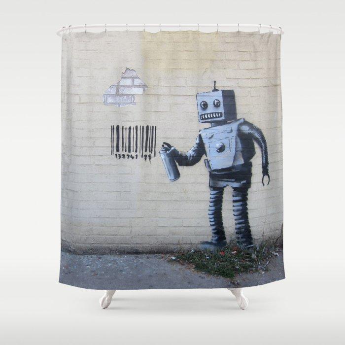 Banksy Robot Coney Island NYC Shower Curtain