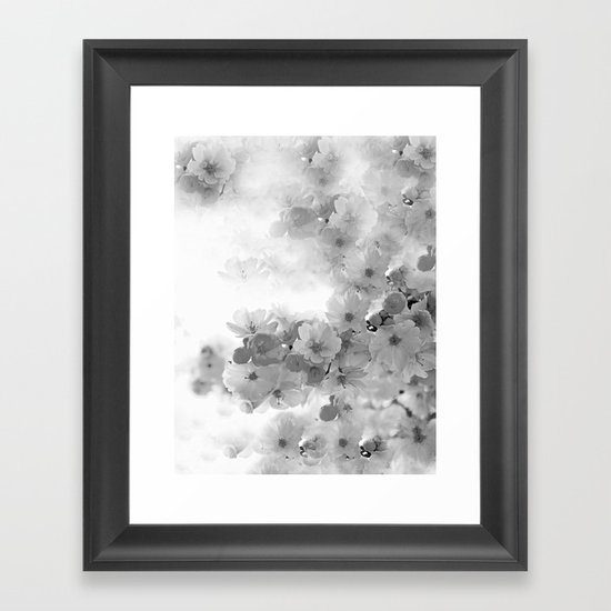 cherry blossoms gray and white framed art print by saundra. Black Bedroom Furniture Sets. Home Design Ideas
