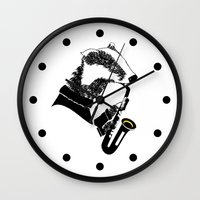 saxophone Wall Clocks featuring Badger Saxophone by mailboxdisco