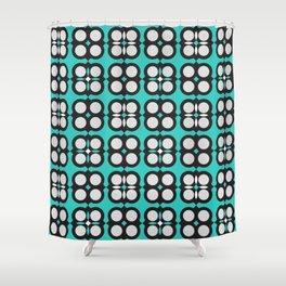 Geometric circle cross flowers check Cyan Shower Curtain
