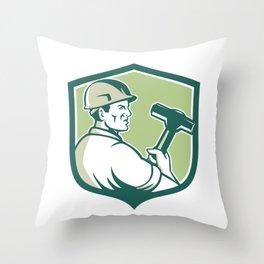 Demolition Worker Sledgehammer Shield Retro Throw Pillow