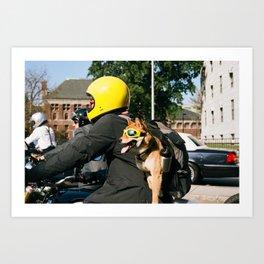 Motorcycle Dog Art Print