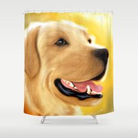 lab Shower Curtains featuring Yellow Lab by Becky's Digital Art