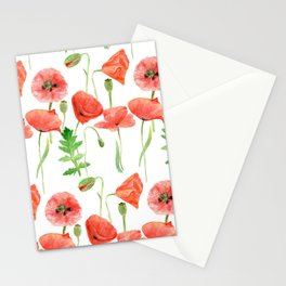 Poppies pattern Stationery Cards