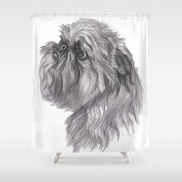 Gotta draw the Brussels Griffon cutie! Shower Curtain