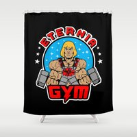 gym Shower Curtains featuring Eternia Gym by Buby87
