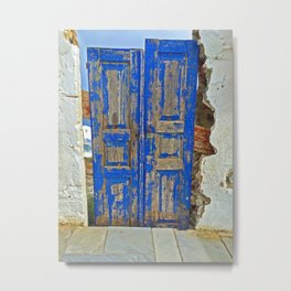 Blue Doors, in Oia Greece Metal Print