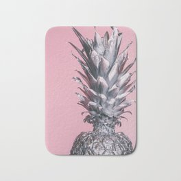 Silver and pink tropical pineapple Bath Mat