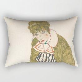 "Egon Schiele ""Edith with Striped Dress, Sitting"" Rectangular Pillow"