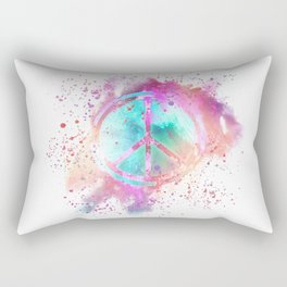 Colorful Painted Peace Symbol Hippie Style Rectangular Pillow