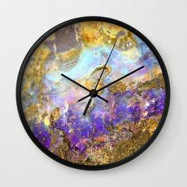 Shimmery Blue & Purple Opal Encrusted in Gold Wall Clock