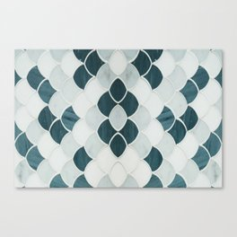 Moroccan Scalloped Flower Teal Canvas Print