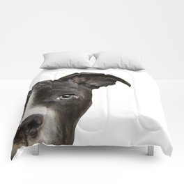 Pitbull Dark brown Dog illustration original painting print Comforters