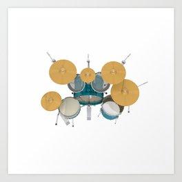 Green Drum Kit Art Print