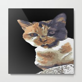 Cute Tricolor Cat With Tongue Out Metal Print